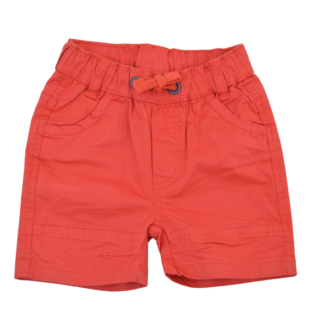 Панталон къс крачол от плат с цял колан и връзка червен