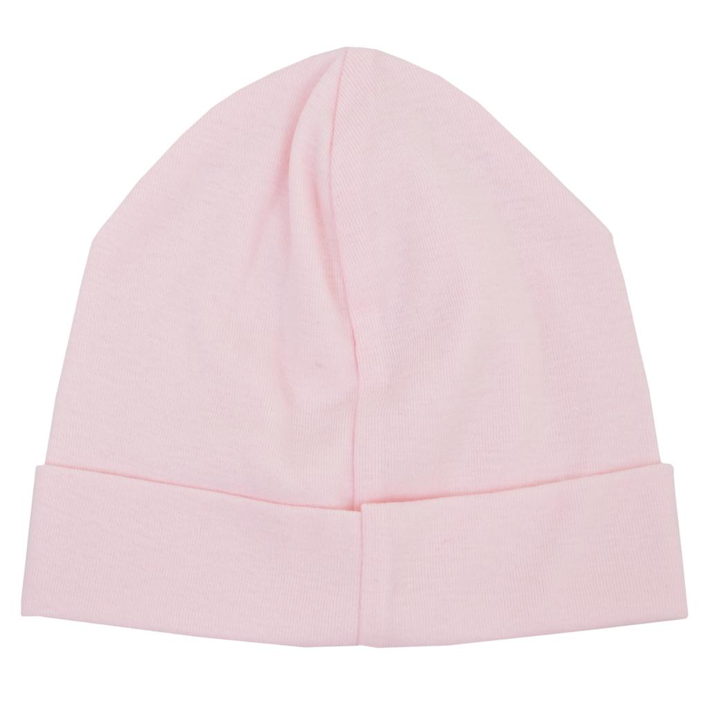 Трикотажна памучна шапка с лого ''Точици'' бледо розова