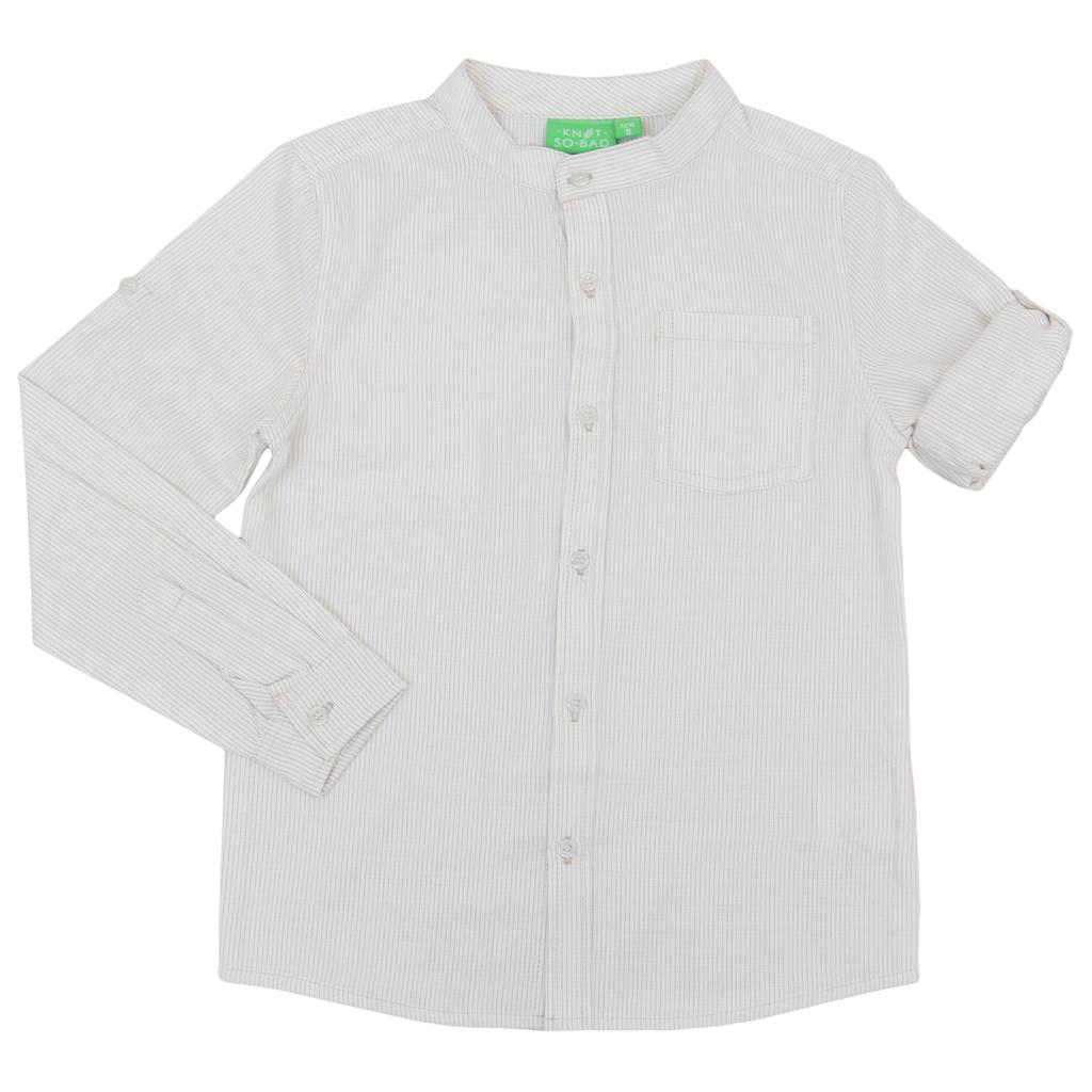 Риза на тесни райета в бежово с ръкав 2в1 и столче яка