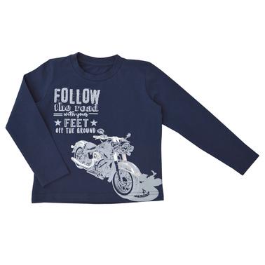 Детска блуза с мотор тъмно синя