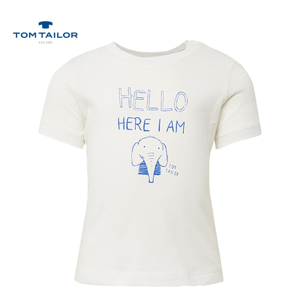 Мека тениска с копченца на рамото и слонче бяла