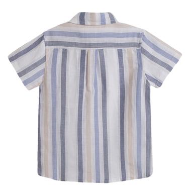 Риза с къс ръкав на райета от Newness светло синя