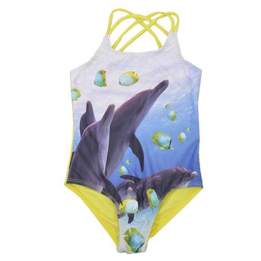 Цял бански с преплетени презрамки и делфини жълт