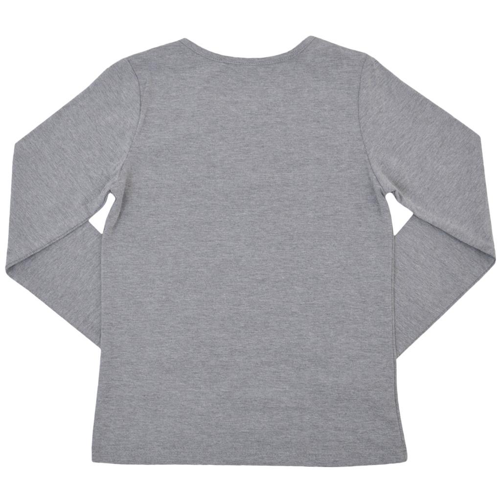 Елегантен сет от блуза с щампа и пола солей сив меланж