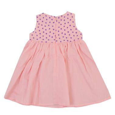 Ефирна рокличка с точици без ръкав в цвят праскова