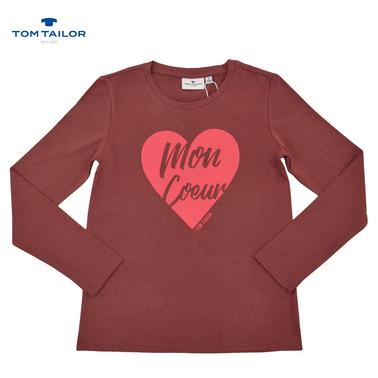 Блуза с дълъг ръкав и щампа сърце от Tom Tailor керемида