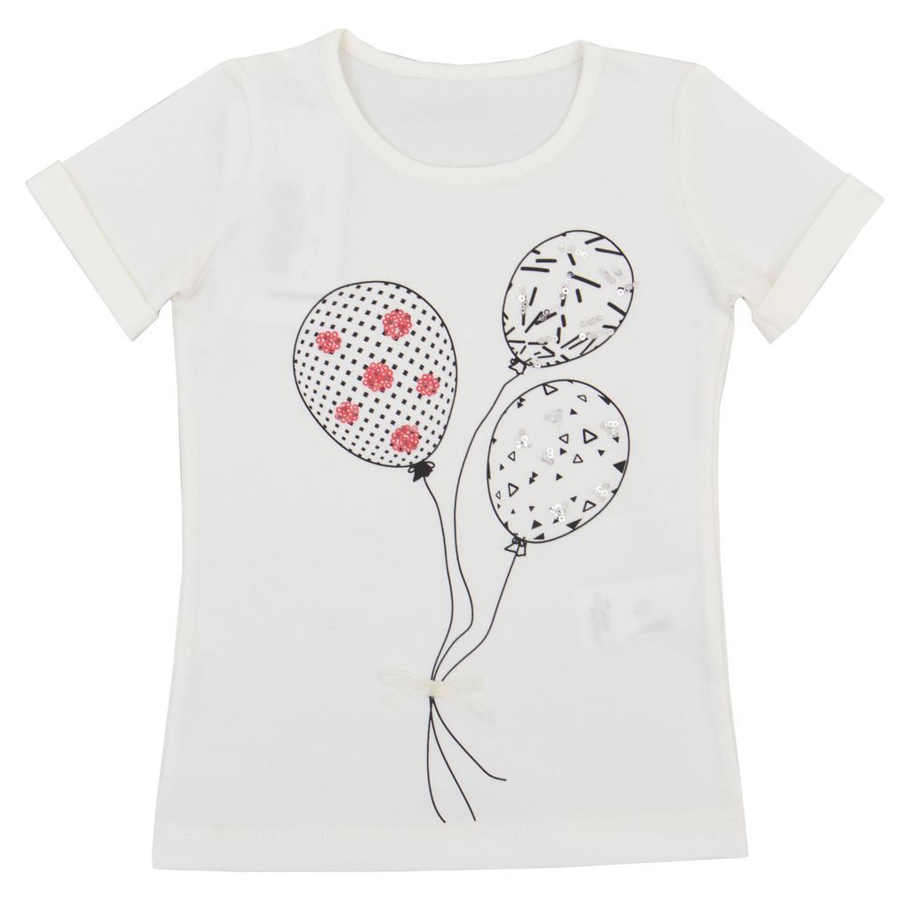 Блуза къс ръкав с балони и пайети екрю