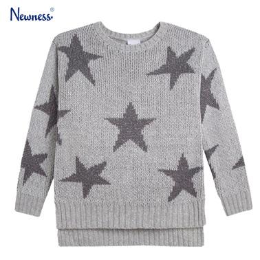 Пуловер с ламе на звезди от Newness сив