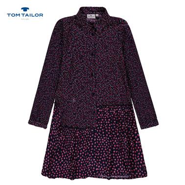Модерна рокля Tom Tailor от вискоза на цветчета синя