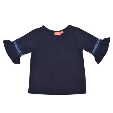 Блуза с 3/4 ръкави с волан и дантела в тъмно синьо