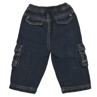 Бебешки дънки прави с ластик и джобове на коленете деним