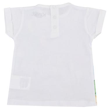 Тениска с щампа на зайчета и балони бяла