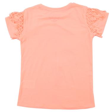 Тениска с палми и възелчета в ярък оранжев цвят