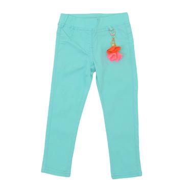 Панталон-клин с дълъг крачол и пискюли зелен
