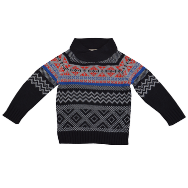 Класически пуловер с яка тип шал  червен