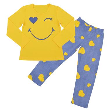 Пижама за сладки сънища с весел имотикон и сърца жълта