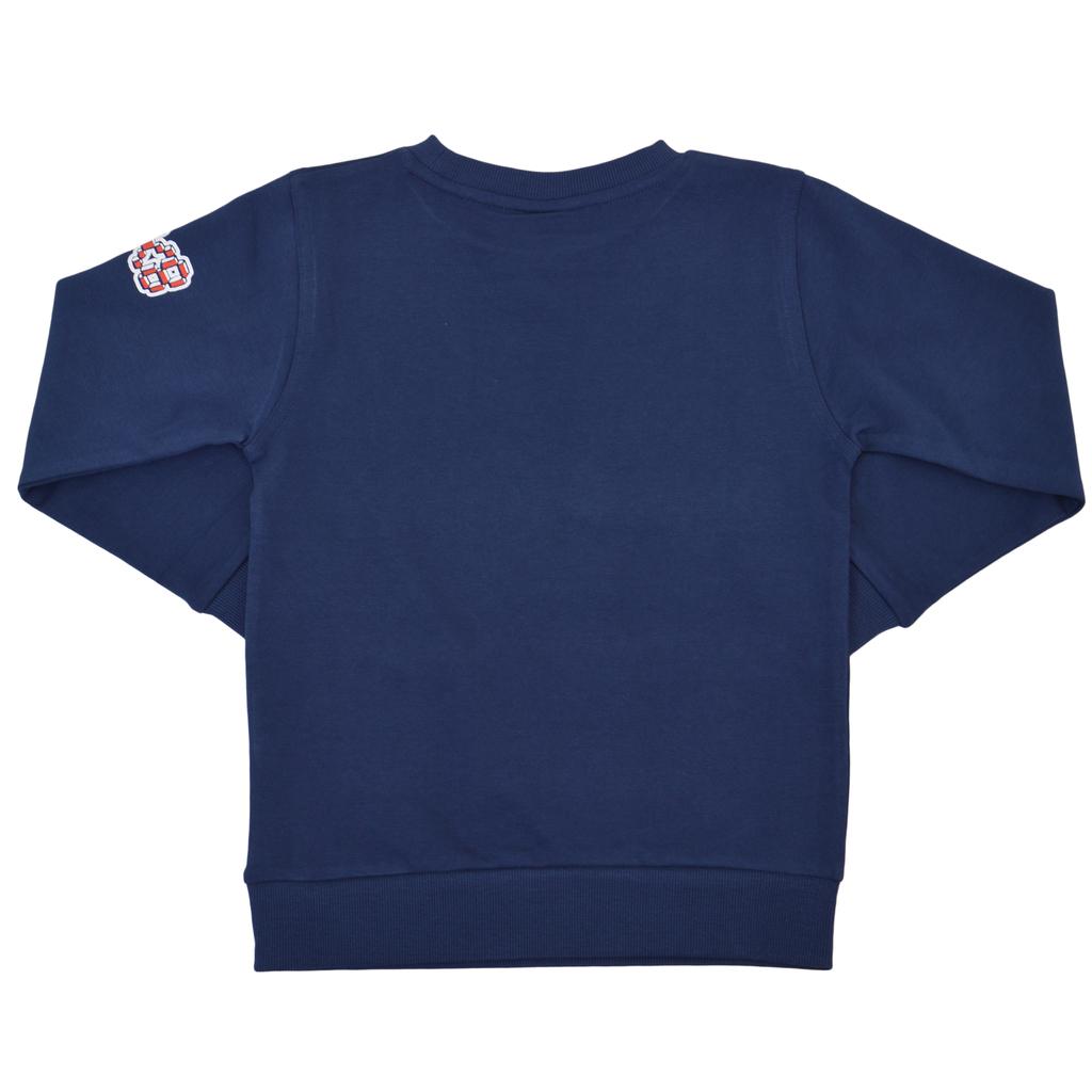 Спортна памучна блуза с щампи тъмно синя