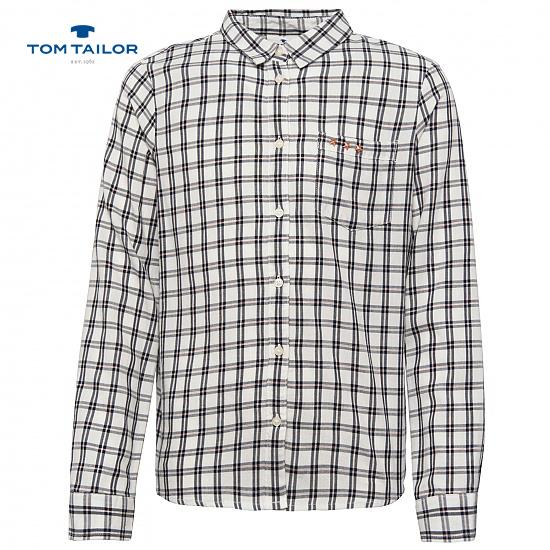 Класическа риза за момичета в каре Tom Tailor черна