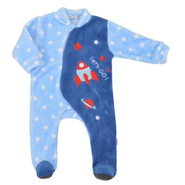 Бебешки плюшен гащеризон на звездички с ракета син