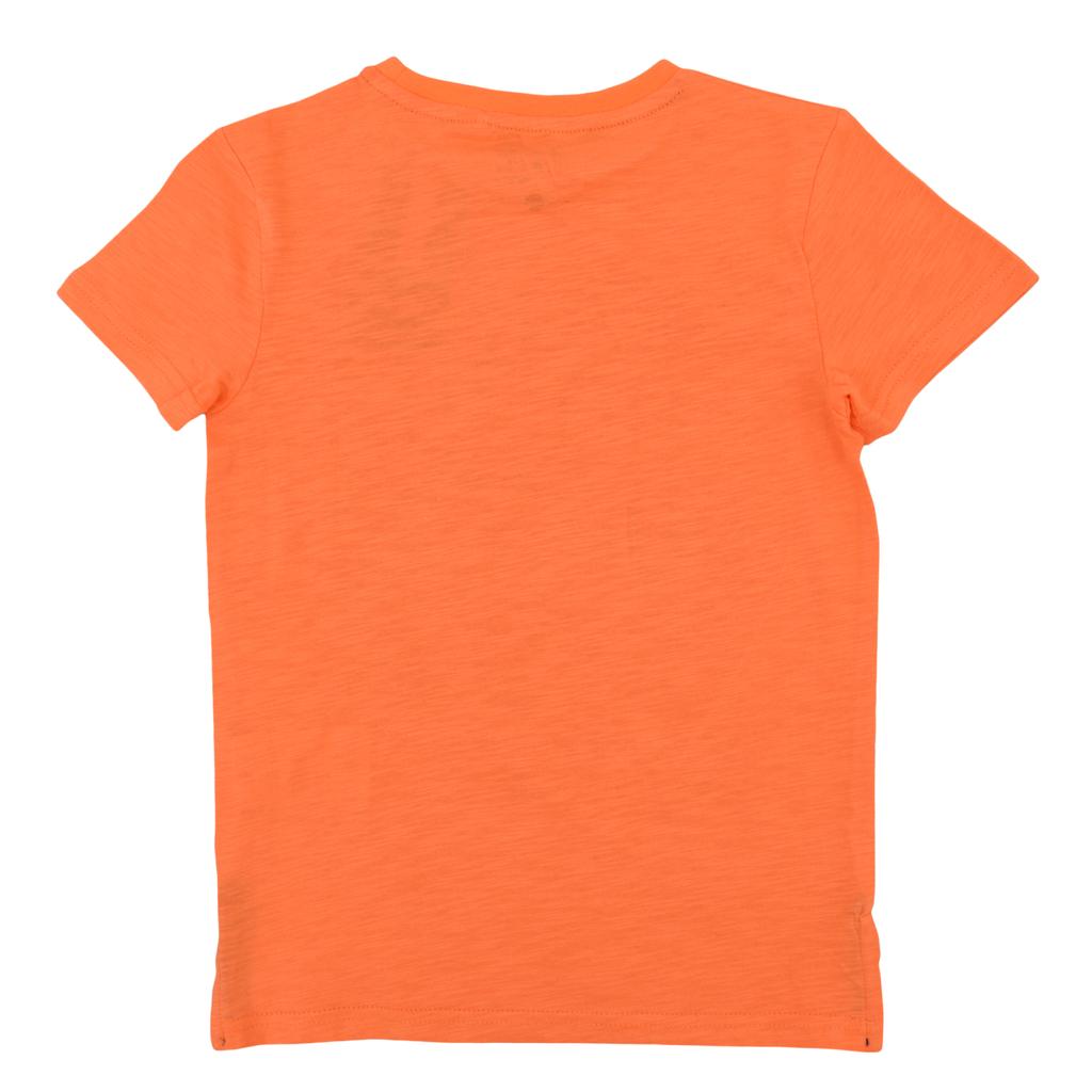 "Тениска с релефен принт ""Skateboard"" в оранжево"