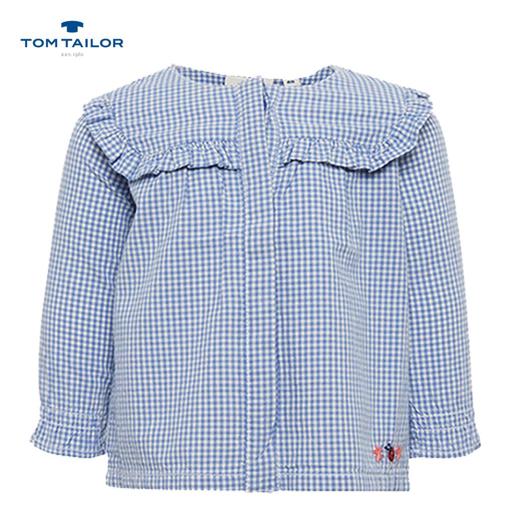 Риза без яка с къдрици и бродерия Tom Tailor бяла