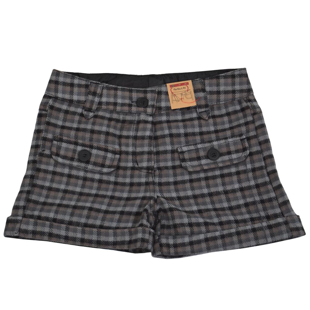 Карирани къси панталонки сиви