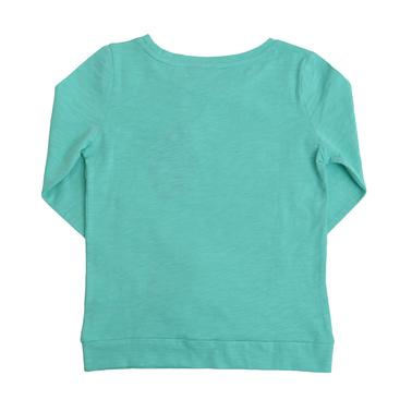 Блуза с дълги ръкави и щампа с момиче с шапка зелена
