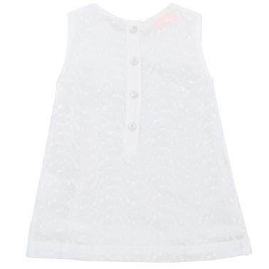 Рокля с рязана бродерия и ефектни платки бяла