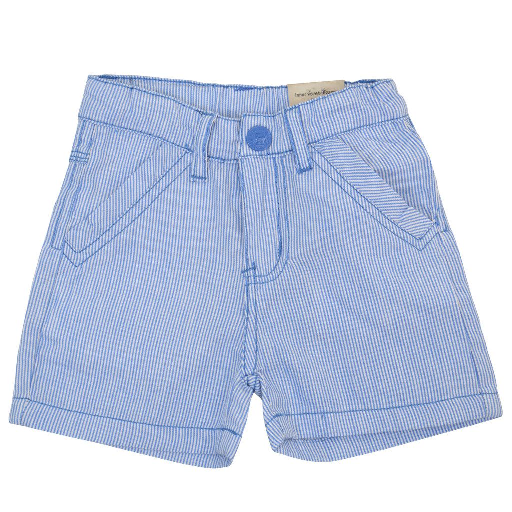 Детски къси панталони в моряшко райе светло сини