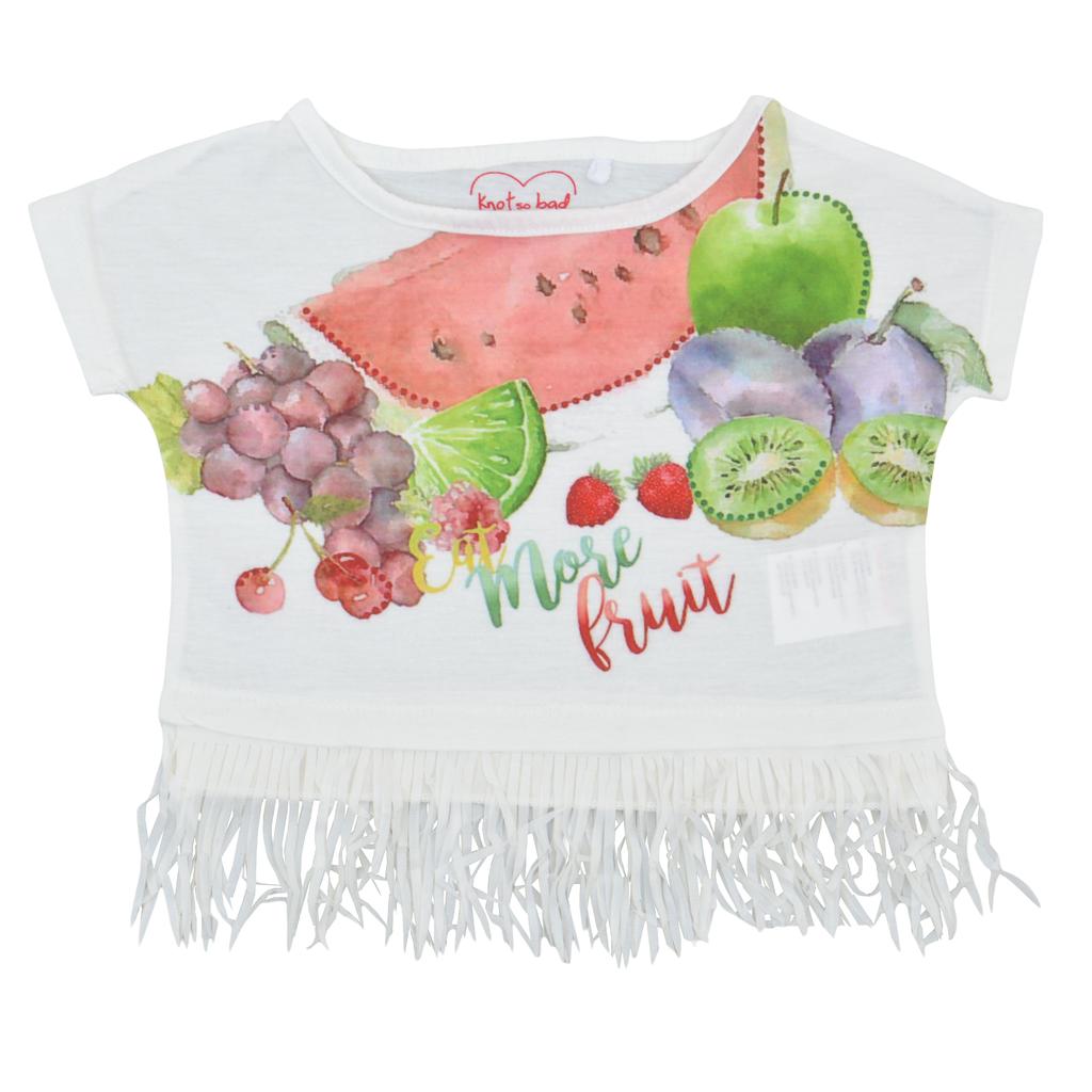 Детска къса блуза с плодове и ресни екрю