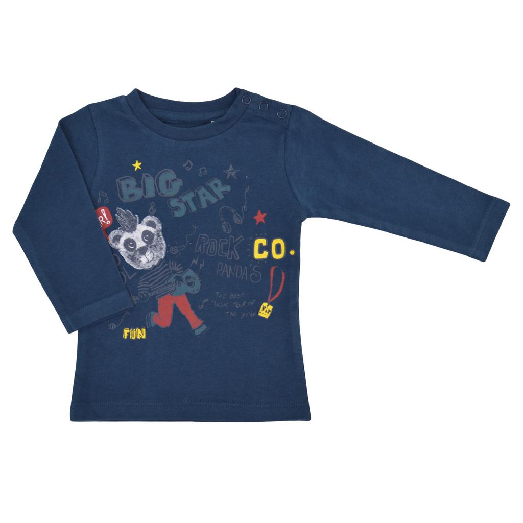 Бебешка блуза с панда синя