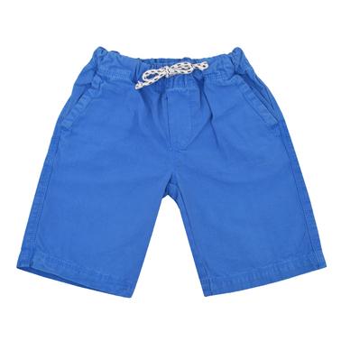 Бермуди от текстил с джобове и връзка сини