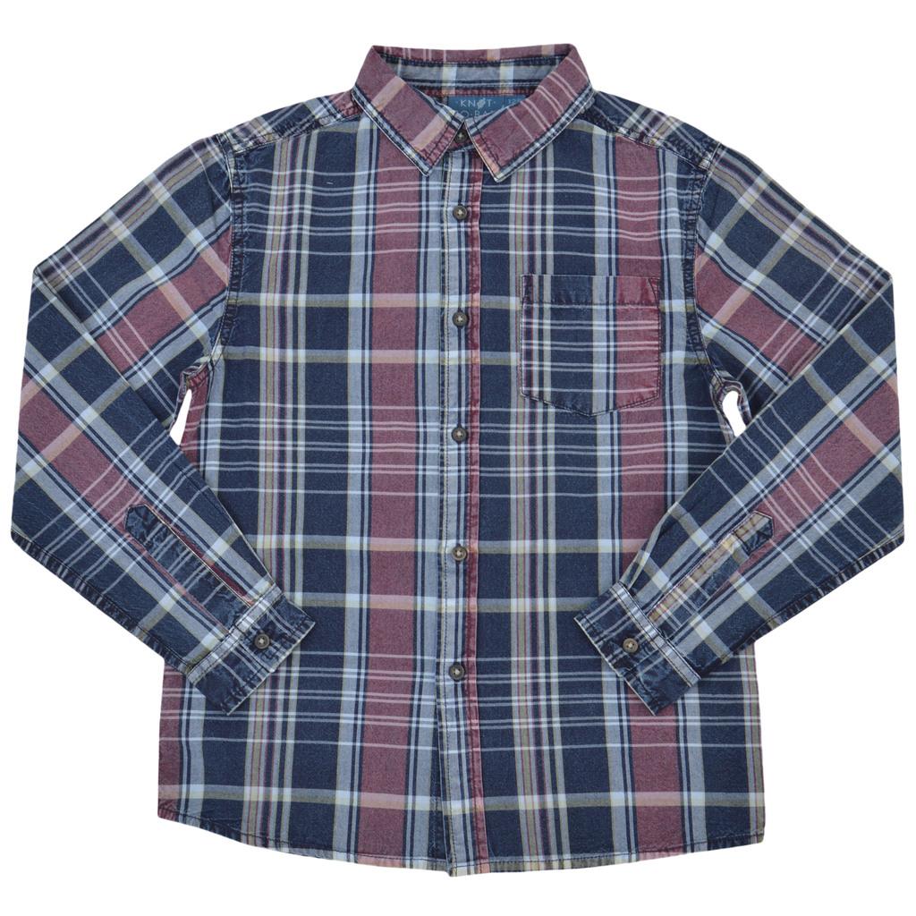 Карирана риза с дълъг ръкав и джоб синя