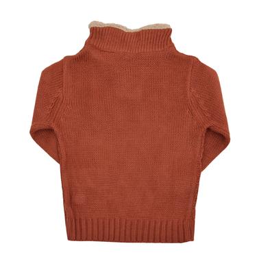 Детски зимен пуловер с висока яка с копчета кафяв