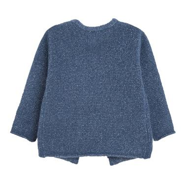 Жилетка с ламе и джобчета Newness синя