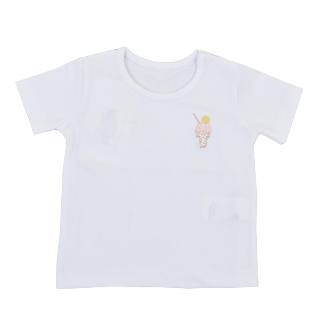 Тениска с бродиран сладолед и копчета бяла