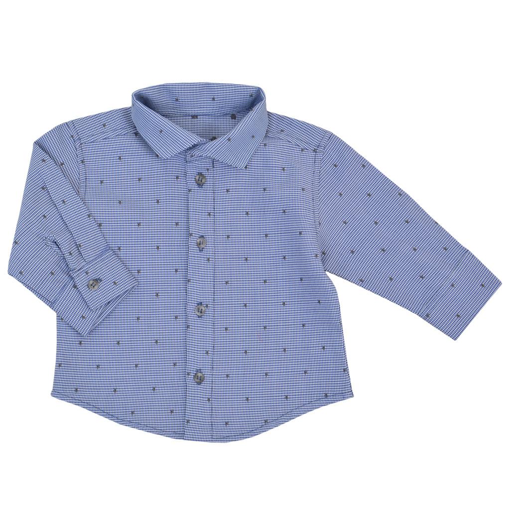Елегантна бебешка риза на звездички в синьо