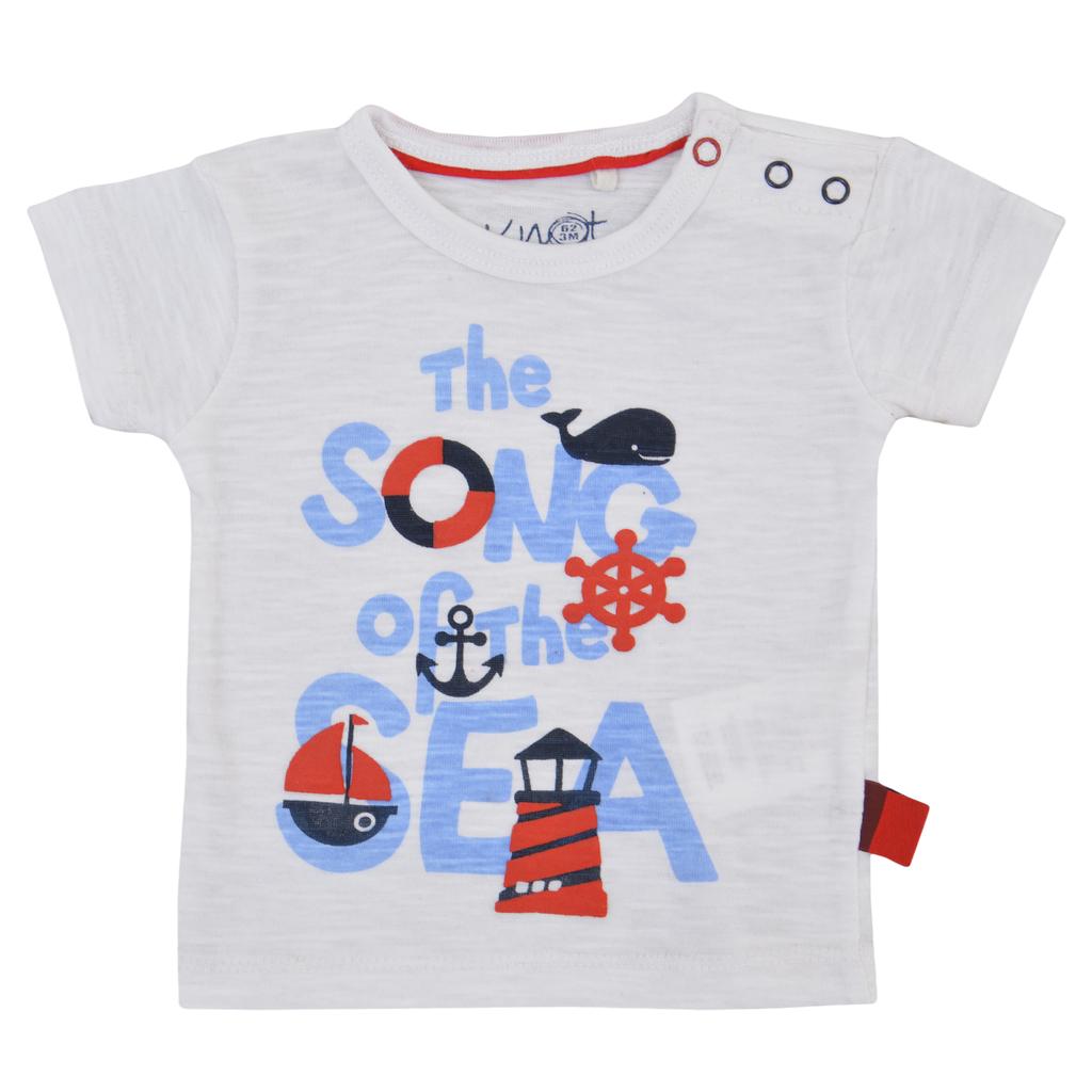 Тениска с релефни морски картинки и надпис бяла