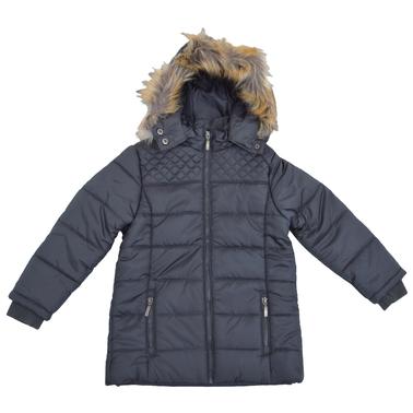 Зимно ватирано детско яке с качулка с пух тъмно сиво