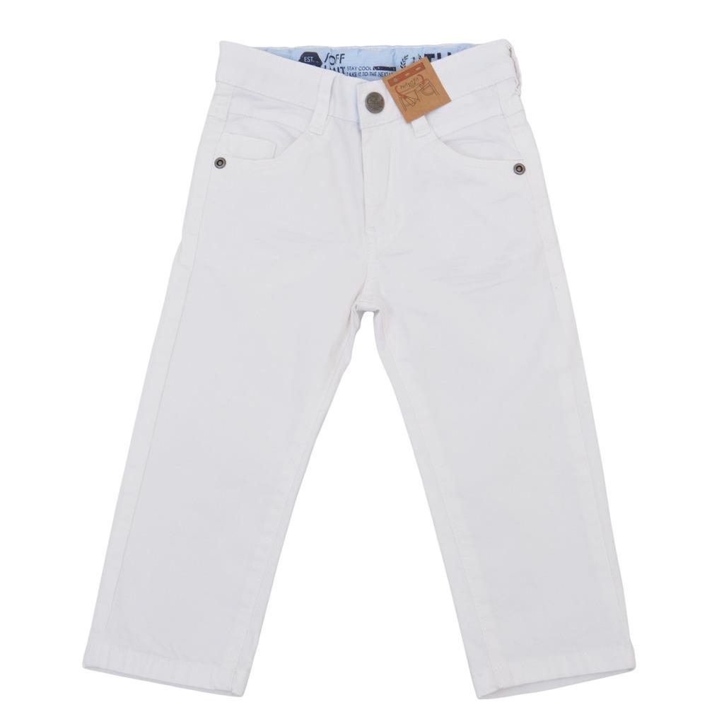 Панталон с дълъг крачол и класическа кройка бял