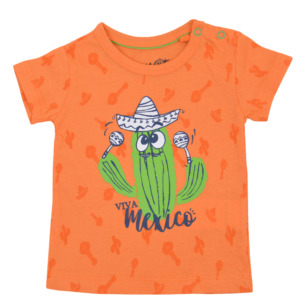 Тениска с кактус - музикант оранжева