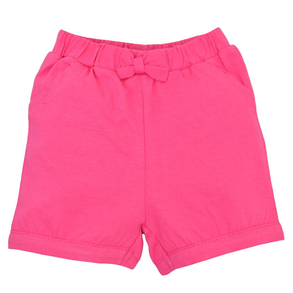 Къси панталонки от трико с панделка циклама