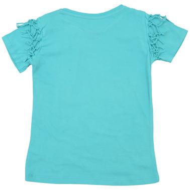 Тениска с палми и възелчета в цвят електрик