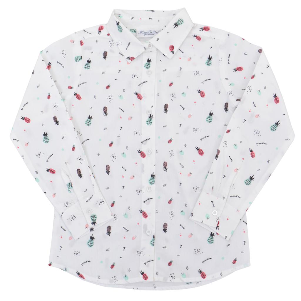 Риза дълъг ръкав с щамповани ананаси бяла