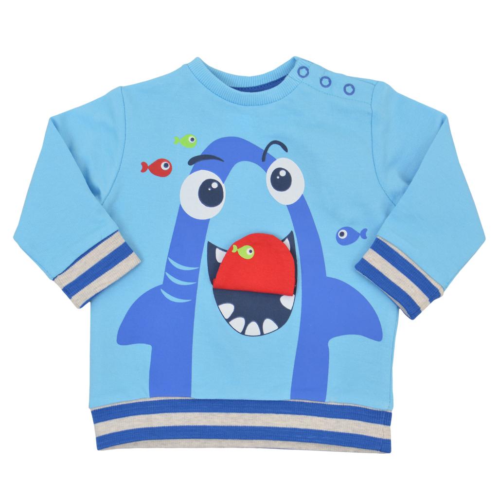 Спортна блуза дълъг ръкав с акула светло синя