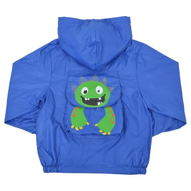 Яке с джоб-торбичка за прибиране и весело чудовище в синьо