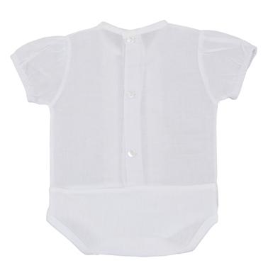Боди-блузка с къс ръкав и дантелка в бяло