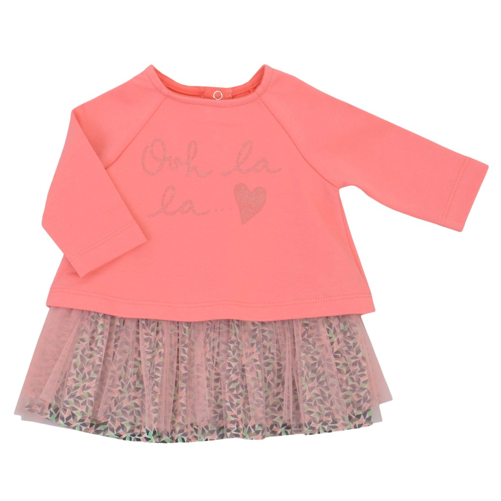 Елегантна детска рокля с надпис с брокат и пола от тюл в коралов цвят