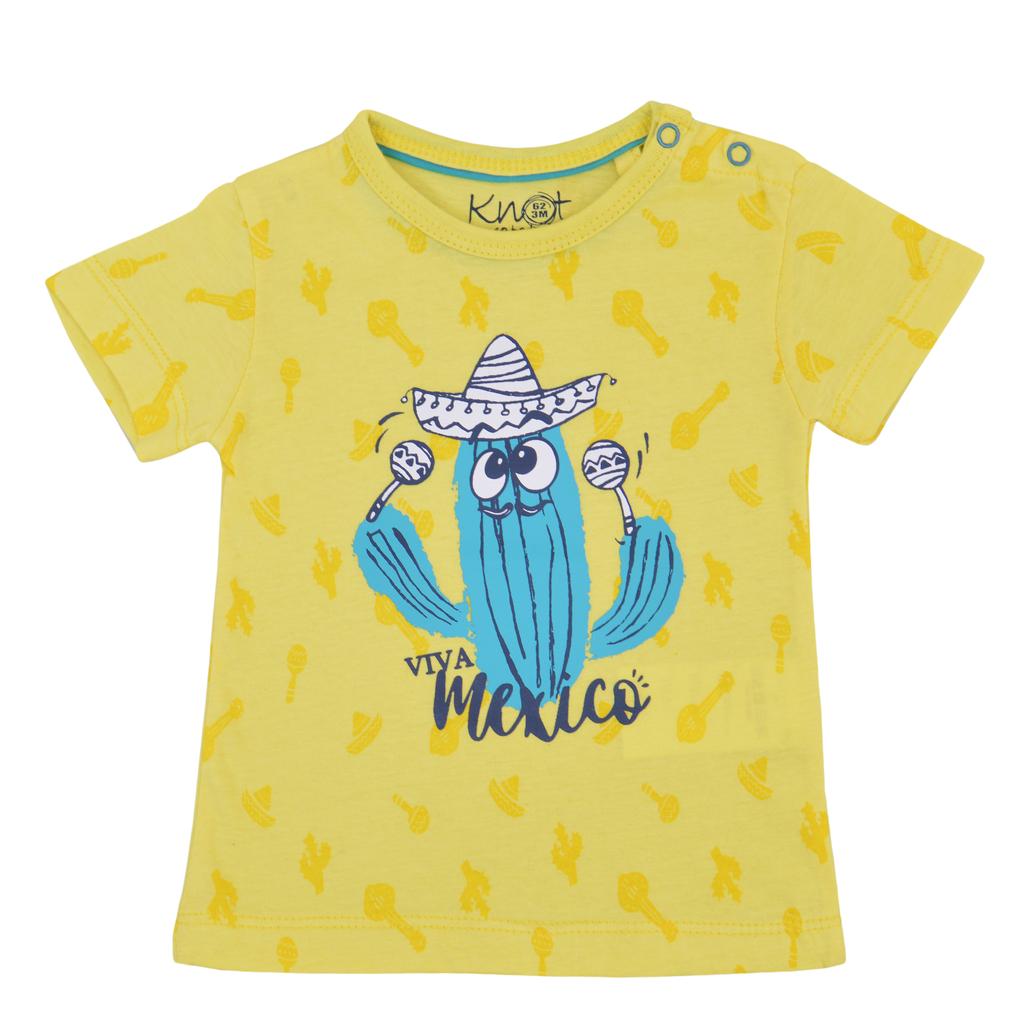 Тениска с кактус - музикант жълта