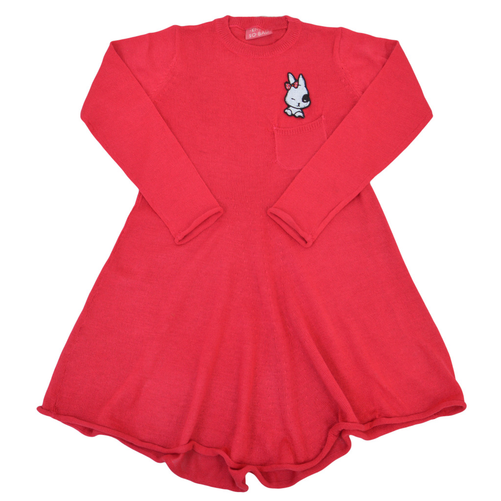 Ефирна рокля от фино плетиво с джобче и зайче малина